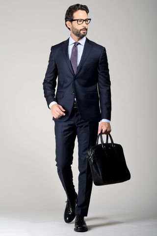 dark navy suit slim Angelico