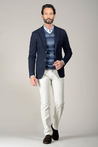 blue jacket dyed cotton slim Angelico
