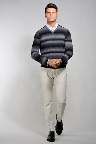 charcoal melange striped pullover Angelico
