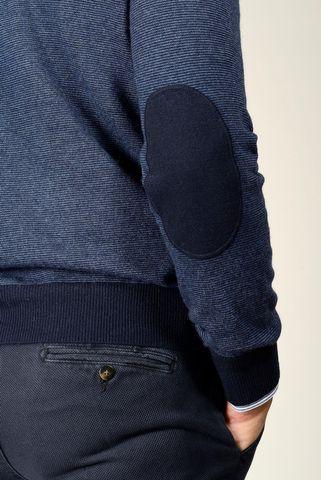 maglia v blu millerighe con toppe Angelico