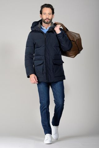 navy padded hooded overjacket Angelico