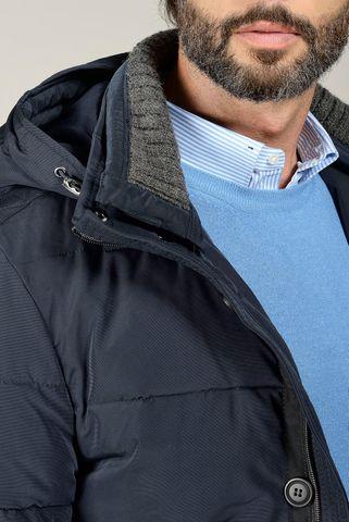 giaccone blu imbottito cappuccio ecopiuma Angelico