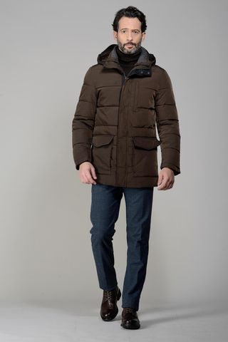 brown padded hooded overjacket Angelico