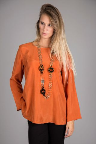 dark orange flared blouse Angelico
