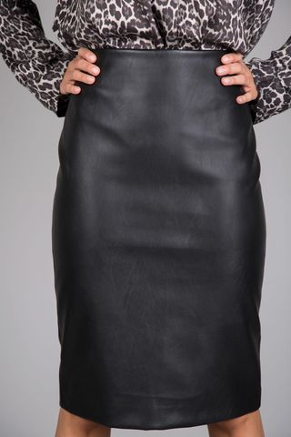 black ecoskin long skirt Angelico