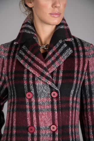 double-breasted burgundy checkered coat Angelico