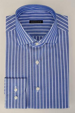 Camicia bluette riga bianca NO-STIRO Angelico
