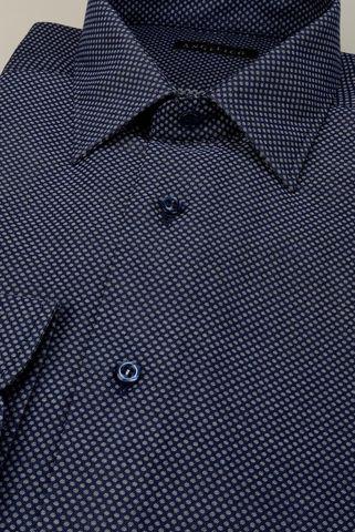 Camicia blu operata pois grigi slim Angelico