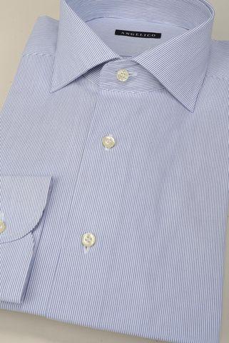 Camicia bianca riga fine blu slim Angelico
