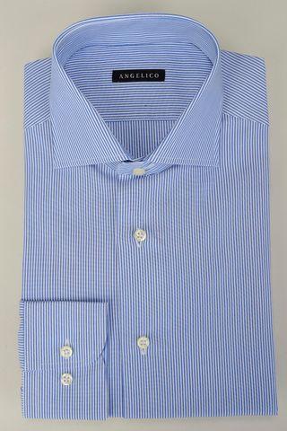 camicia blu millerighe slim Angelico