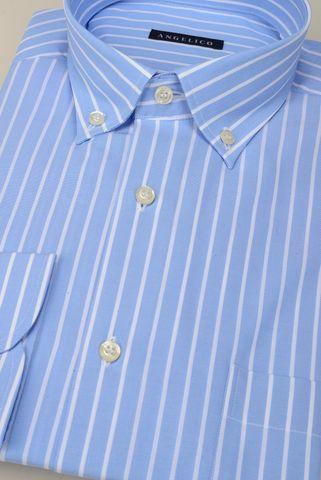 camicia azzurro riga bianca bd Angelico