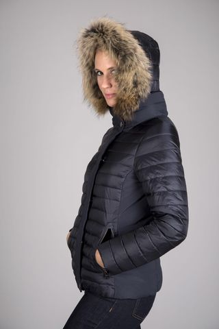navy down jacket fur hood Angelico