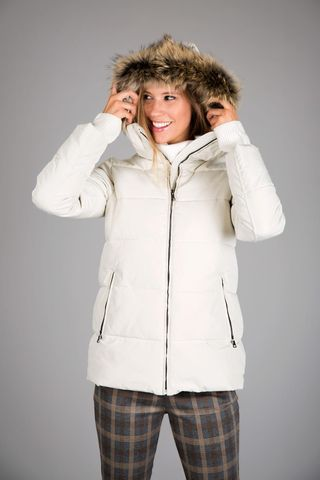 white down jacket hood with fur Angelico