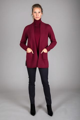 long plum merino open cardigan Angelico