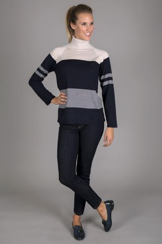 blue-gray striped turtleneck sweater Angelico
