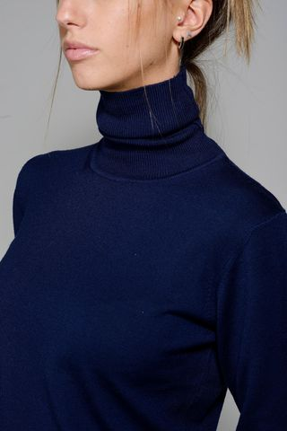 blue woman turtleneck merino Angelico