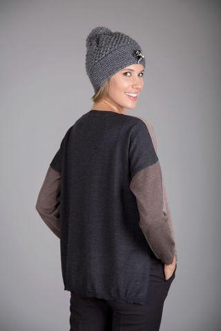 maglia girocollo beige-antracite inserti Angelico