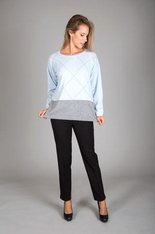 maglia azzurra-grigia rombi misto cashmere Angelico