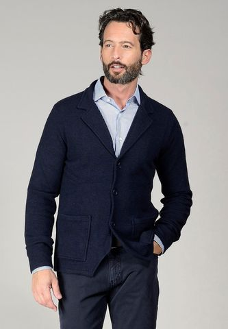 Cardigan blu modello giacca Angelico