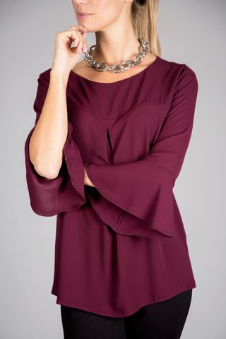 burgundy blouse ruffle sleeves Angelico