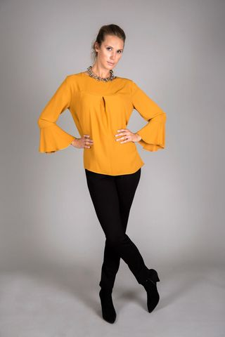 ocher blouse ruffle sleeves Angelico