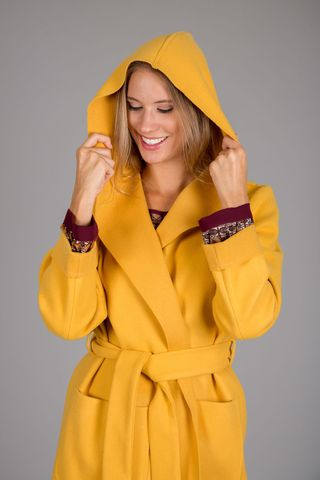 yellow light coat with belt Angelico