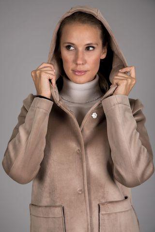 beige hooded short coat Angelico