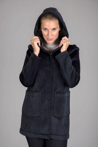 blue hooded short coat Angelico