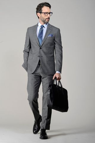 grey suit structured wool Angelico