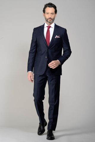blue pinstriped suit flannel Angelico