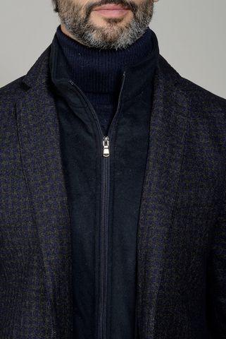 giacca blu-moro quadretto e pettorina slim Angelico