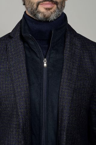 blue-brown checkered jacket with bib slim Angelico