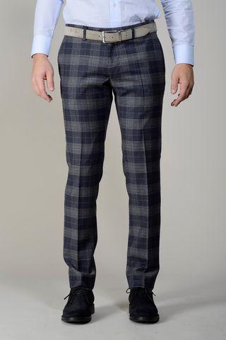 Pantalone blu-grigio Galles slim Angelico