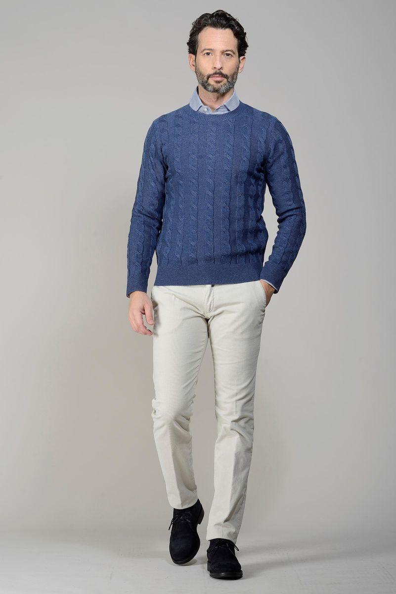 girocollo blu jeans trecce lana-cashmere Angelico