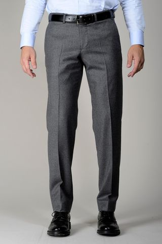 grey stretch flannel trousers comfort Angelico