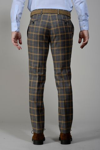 pantalone grigio galles arancio slim Angelico