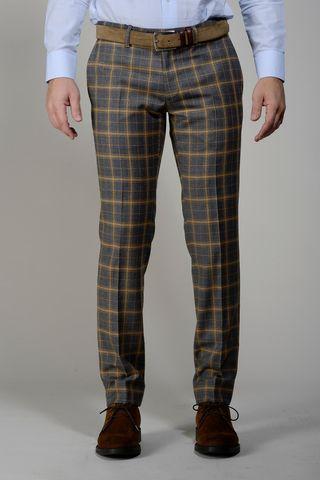 pantalone quadro galles grigio-senape slim Angelico