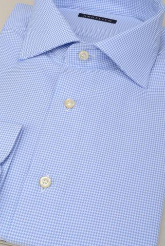 Camicia azzurra micro-rombi comoda Angelico