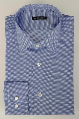 camicia bluette pois slim Angelico