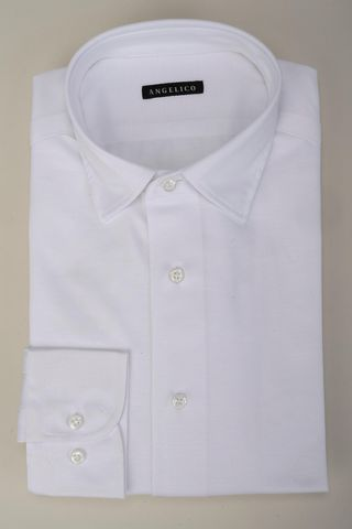 white polo shirt piquet long sleeves Angelico