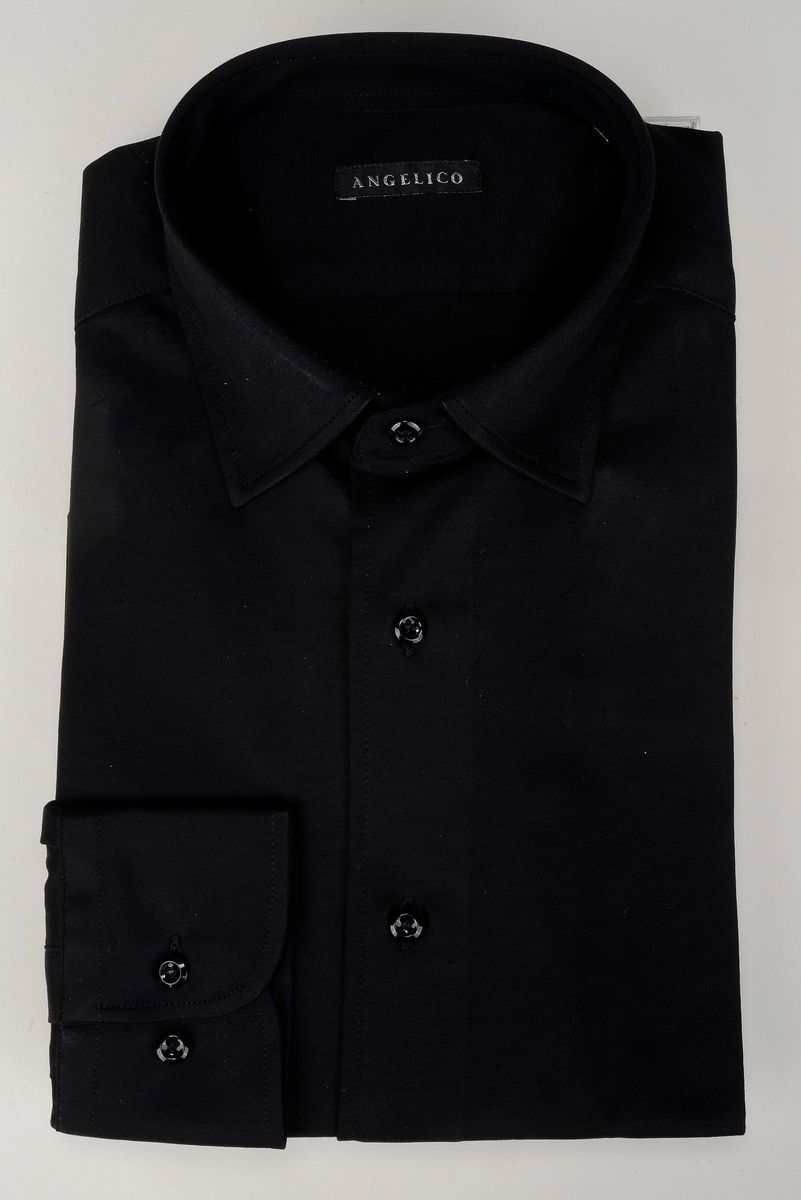 camicia nera piquè liscio Angelico