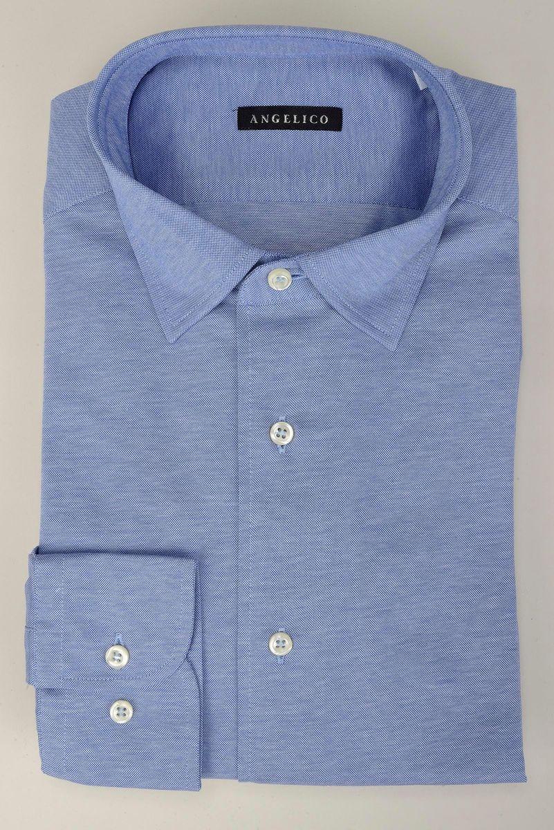 camicia azzurra piquè liscio Angelico