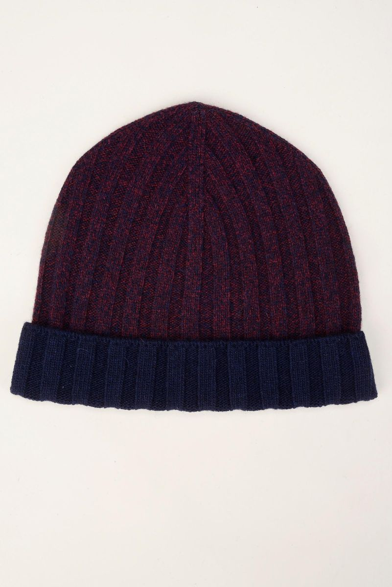 burgundy beanies with navy border Angelico