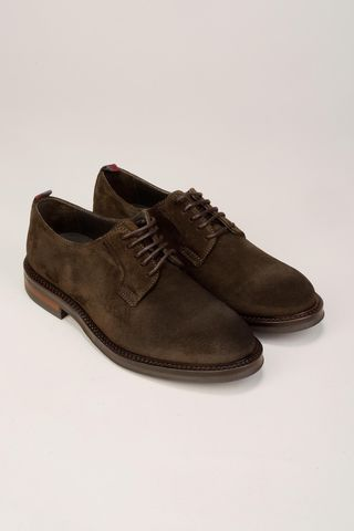 brown suede derby shoes Angelico