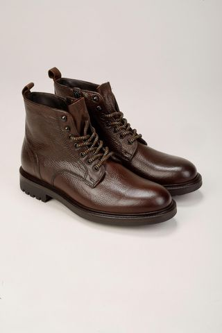 dark brown leather ankle boot Angelico