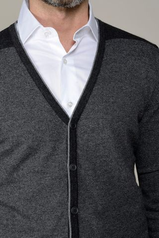 cardigan antracite millerighe con toppe Angelico