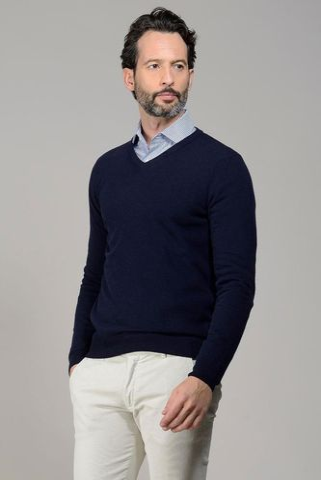 maglia v blu scuro lana-cashmere Angelico