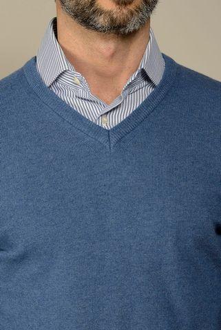 Maglia v bluette lana-cashmere Angelico