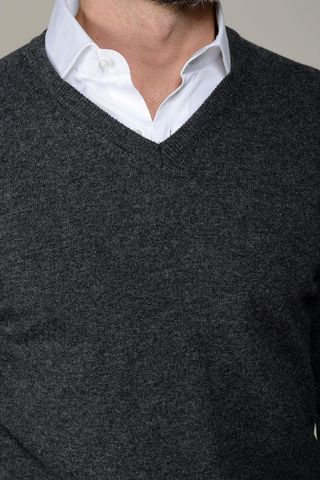 maglia v antracite lana-cashmere Angelico