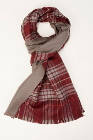 beige scarf with red tartan side Angelico